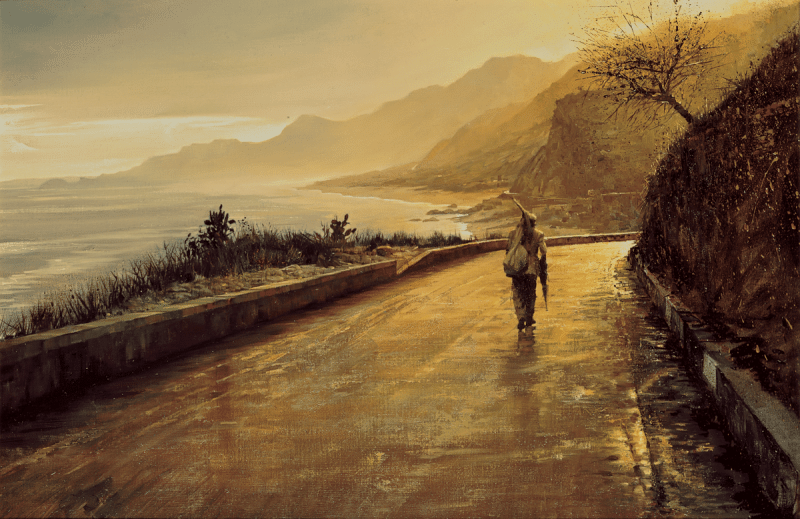 "Oil on Canvas, Sicily, 20 x 30"", 1967. <a class=""buy print"" href=""/store/#!/The-Lonely-Man/p/7799139/category=1811834"">Purchase</a>"