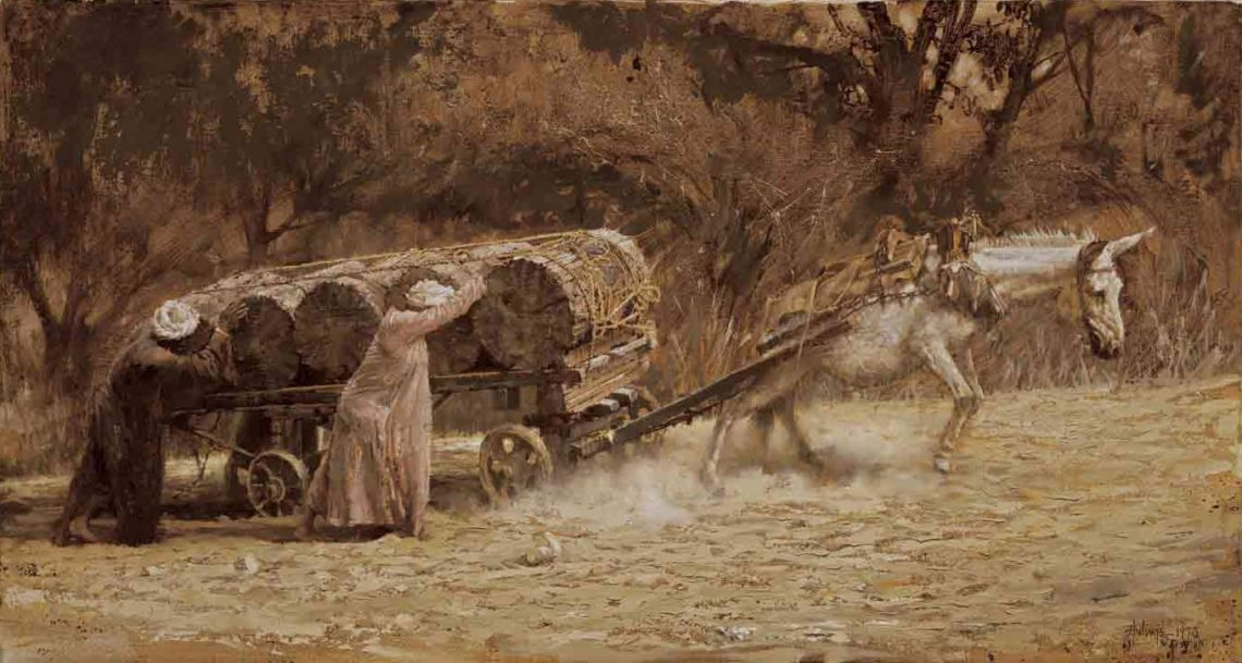 Burro Pulling Logs at Aswan, by Clark Hulings