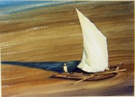 sail boat egypt original art