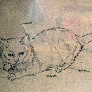 cat-pen-ink-drawing-clark-hulings-original-art