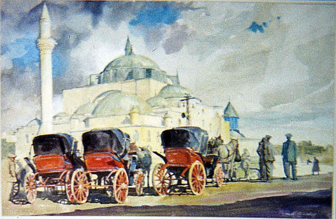 Carriages at Selimiye Mosque, by Clark Hulings