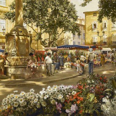Aix-en-Provence Flower Market, by Clark Hulings