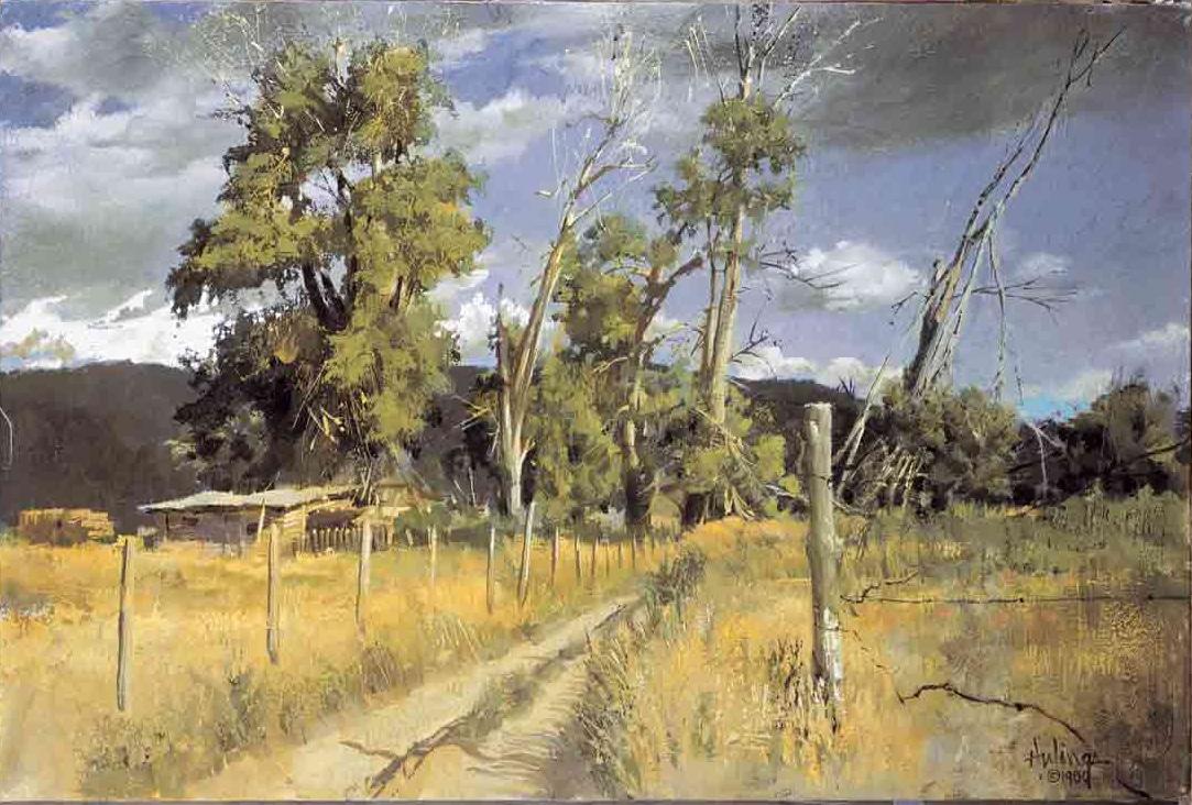 Broken Cottonwoods — Taos, by Clark Hulings