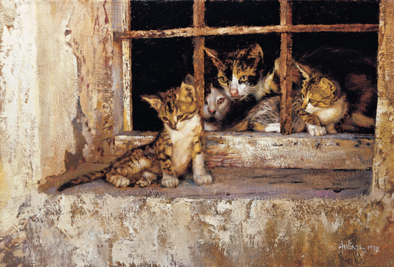 Family Portrait (Almería Cats) by Clark Hulings