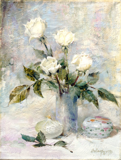 White Roses With Onion, by Clark Hulings