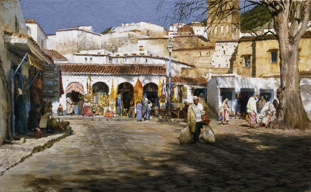 Chechouan Market Square, by Clark Hulings