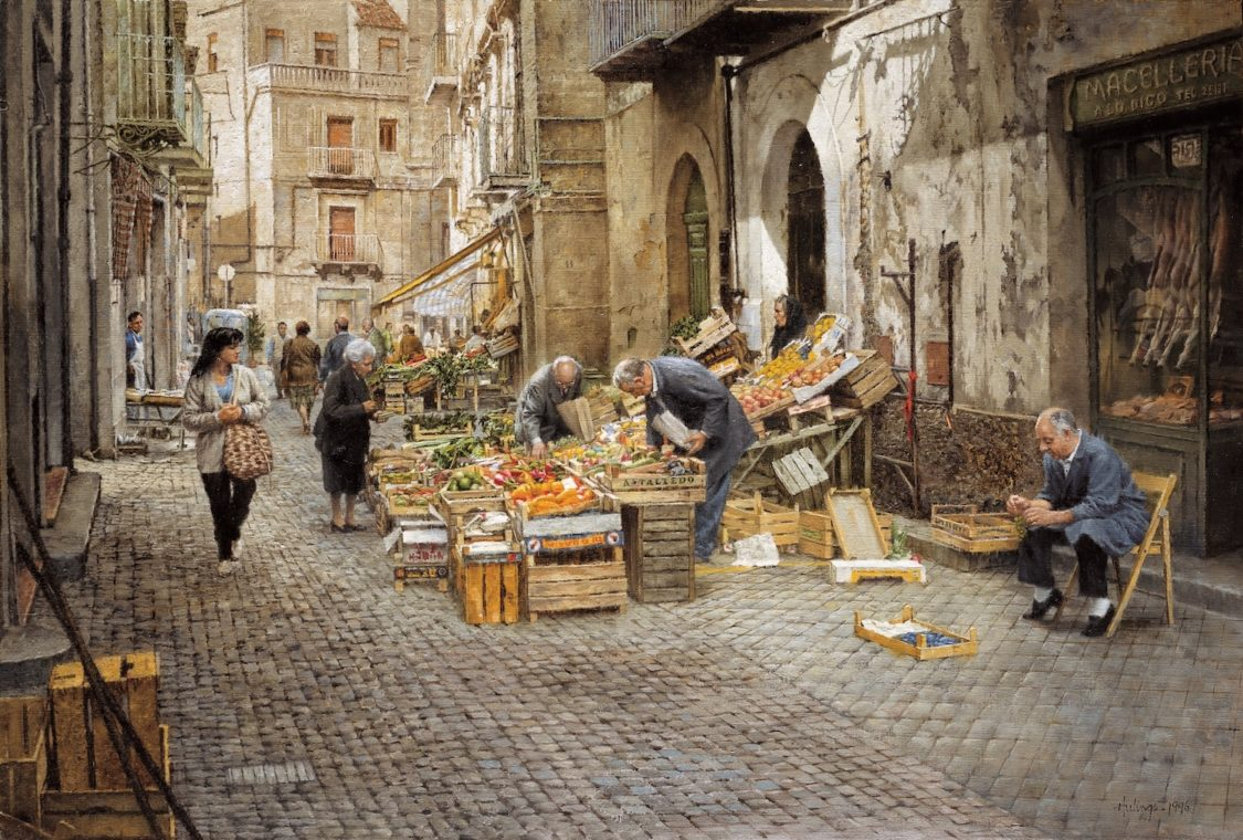 San Antonio Market - Enna, by Clark Hulings