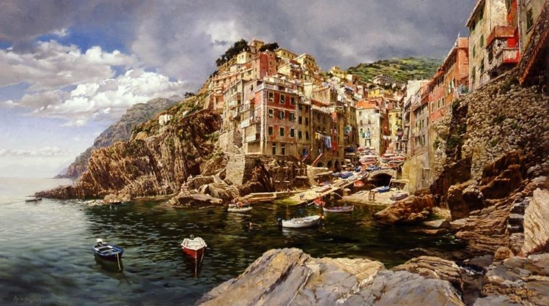 Sunday Afternoon - Riomaggiore, by Clark Hulings
