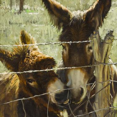 Donkeys Nuzzling, by Clark Hulings