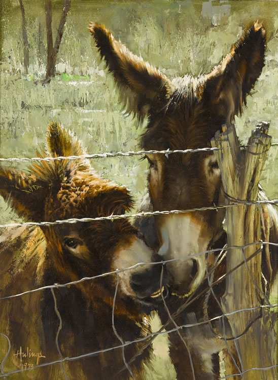 Donkeys Nuzzling, by Clark Hulings