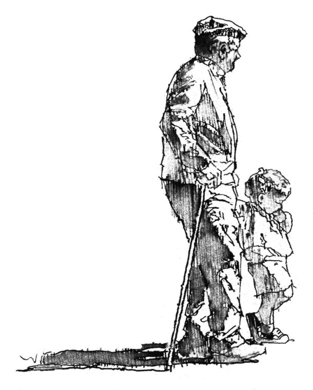 A Walk With Grand Pere, by Clark Hulings