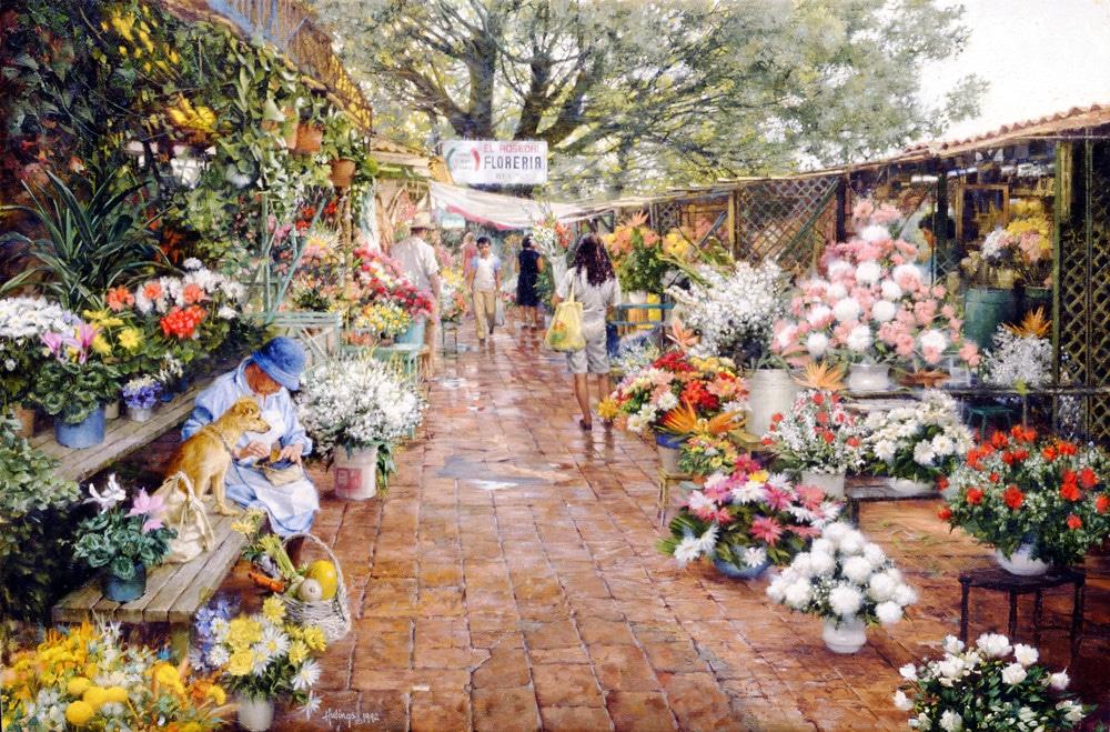 Cuernavaca Flower Market, by Clark Hulings