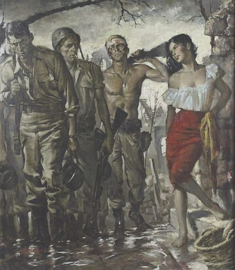 Army Woman In Red Skirt, by Clark Hulings