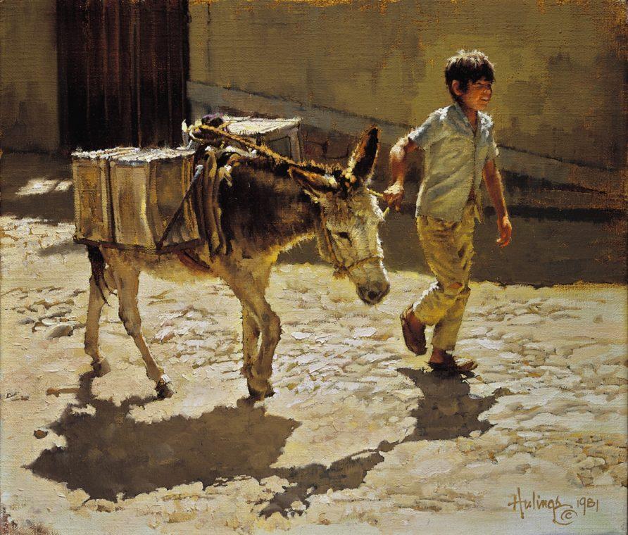 Boy Leading Water Burro, Clark Hulings