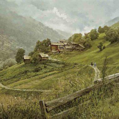 Cerise Swiss Village Near Sion, by Clark Hulings