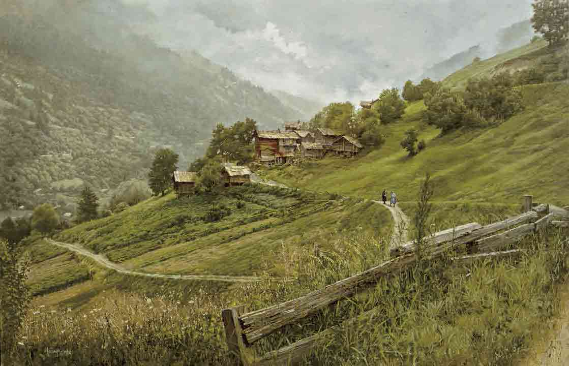 Cerise Swiss Village Near Sion, by Clark Hulings