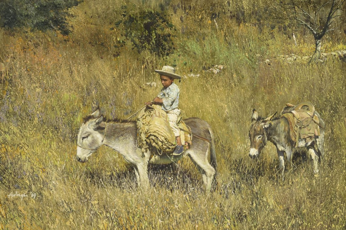 Pepito on Donkey Leading Donkey, by Clark Hulings