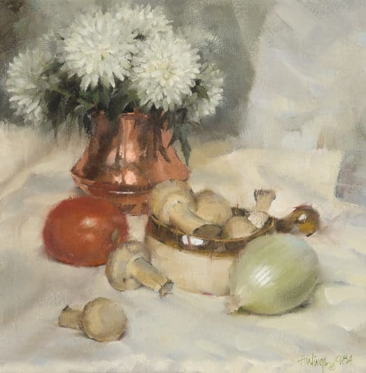Still LIfe with Mushrooms, by Clark Hulings