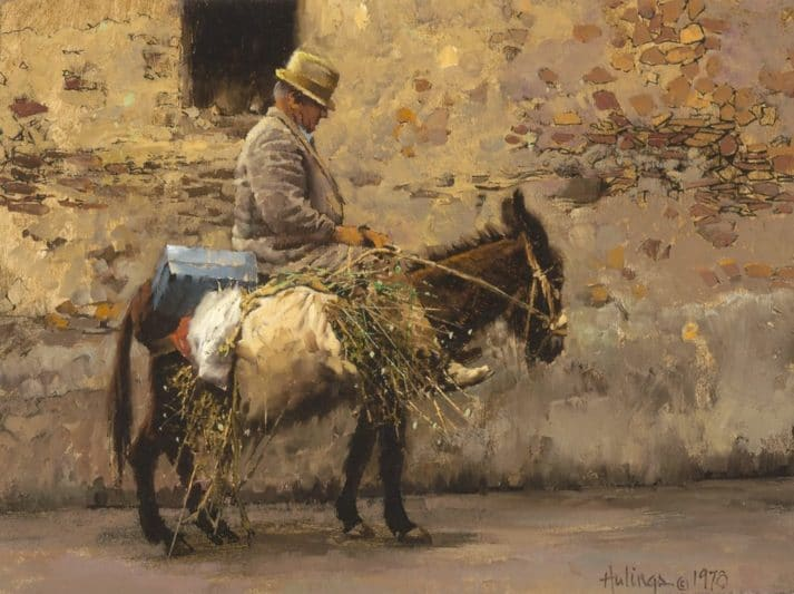 Old Sicilian Man On Donkey, by Clark Hulings