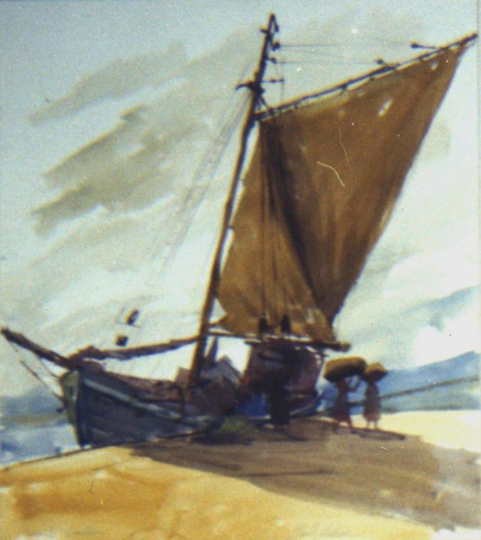 Beached Sailboat, by Clark Hulings