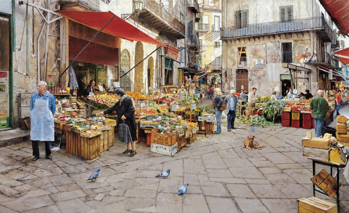 The Vucciria Market, Palermo, by Clark Hulings