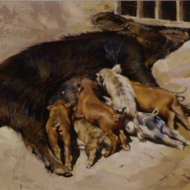 Pig and Piglets, by Clark Hulings