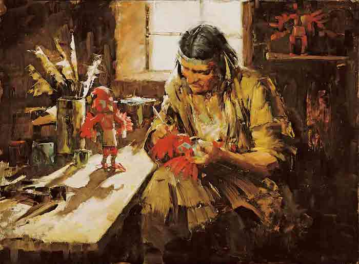 Kachina Doll Maker-Sketch, by Clark Hulings