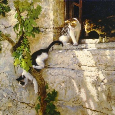 Three Kittens And A Grapevine, by Clark Hulings