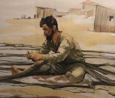 Mending Nets—Torremolinos, Spain, by Clark Hulings