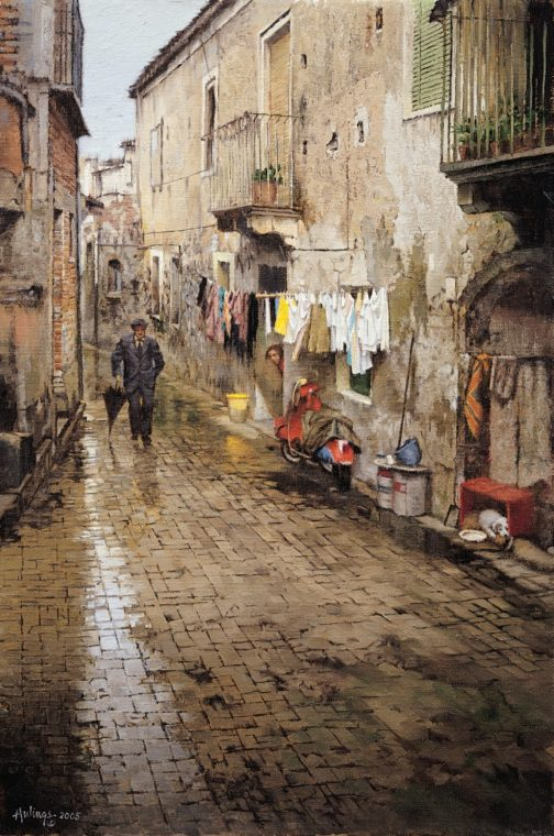 Rainy Sicilian Street, by Clark Hulings