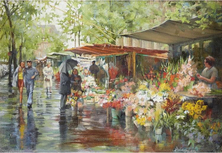 Fleurs de la Madeleine-Sketch, by Clark Hulings