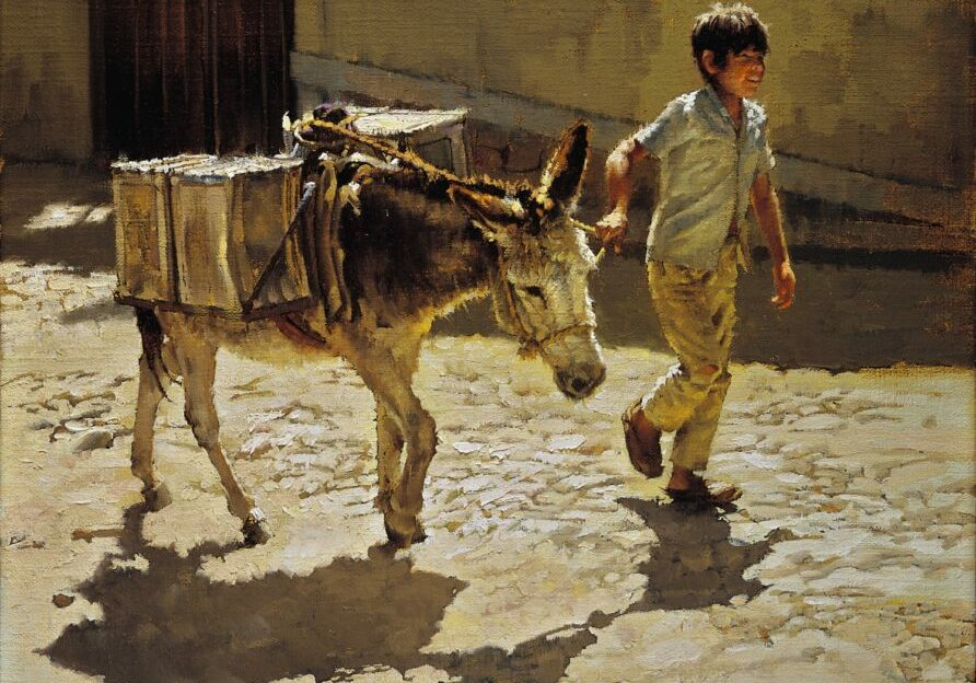 Boy Leading Water Burro, Clark Hulings