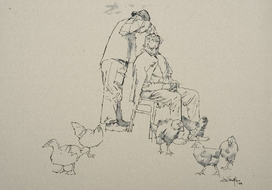 Haircut With Chickens, by Clark Hulings