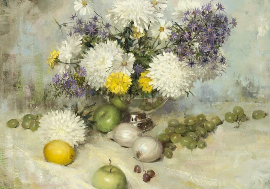 Chrysanthemums, by Clark Hulings