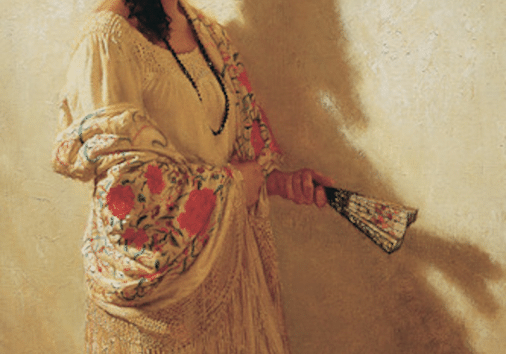 "Oil on Canvas, 30 x 20"", 1984 <a class=""buy print"" href=""/store/#!/The-Spanish-Shawl/p/7799128/category=1811834"">Purchase</a>"